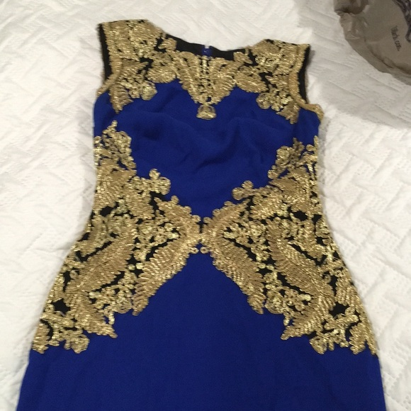 Dresses Royal Blue Gown With Gold Lace Poshmark